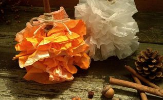 coffee filter pumpkins, painted furniture
