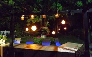 hanging garden lights, bathroom ideas, countertops, home decor, lighting, repurposing upcycling, window treatments, night view of my back yard