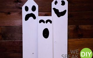 easy halloween ghost from 1 wood board, halloween decorations, seasonal holiday decor