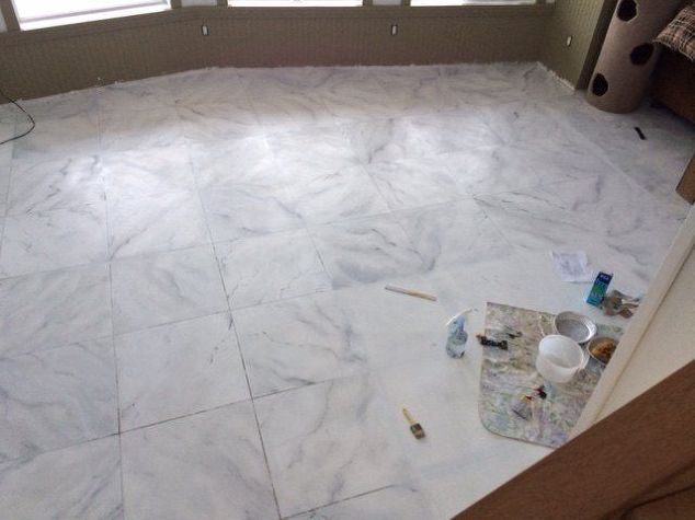 Marble Floor Mural : Faux marble flooring hometalk