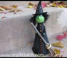 golf ball witch halloween recycling craft diy, crafts, halloween decorations, seasonal holiday decor