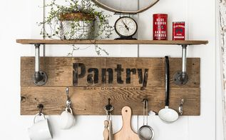 make an easy pipe and reclaimed wood shelf in minutes pantry style , closet, crafts, home decor, kitchen design, organizing, plumbing, repurposing upcycling, shelving ideas, storage ideas, woodworking projects