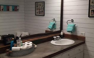 guest bathroom redo with shiplap concrete counter top, bathroom ideas, concrete masonry, countertops