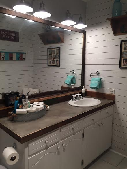 Guest Bathroom Redo With Shiplap & Concrete Counter Top ...
