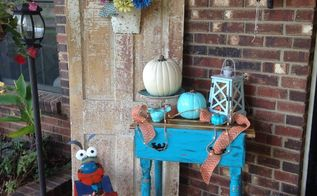 fall front porch, outdoor furniture, repurposing upcycling