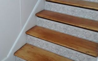 stair risers wallpaper border, stairs, wall decor, Beautiful inexpensive easy