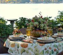 alfresco fall table with an easy blooming pumpkin method, painted furniture