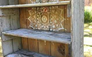 a rustic bookcase makeover using the radiance mandala stencil, home decor, painted furniture, painting, pallet, repurposing upcycling, shelving ideas