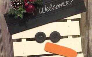 diy rustic christmas pallet snowman, pallet, DIY Rustic Pallet Snowman