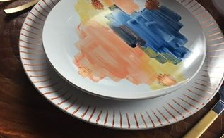 hand painted dinnerware, kitchen design, painting, repurposing upcycling, seasonal holiday decor