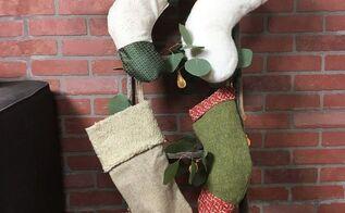 ladder stocking hanger, crafts, fireplaces mantels, home decor, painting, repurposing upcycling, seasonal holiday decor