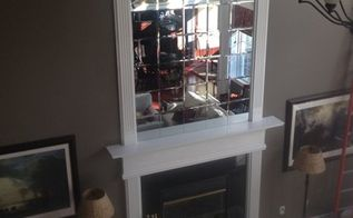 diy beveled mirror tile overmantel, fireplaces mantels, home decor, home improvement, living room ideas, wall decor