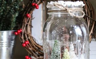 diy mason jar winter tree decor, home decor, mason jars