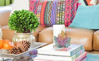 diy ombre wooden leaf candleholder, crafts, fireplaces mantels, home decor, painted furniture, pallet, shelving ideas