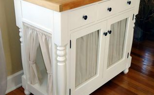 diy kitty litter cabinet hides ugly litter box, kitchen cabinets, kitchen design, painted furniture, woodworking projects