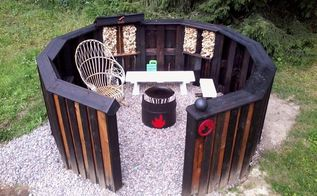 circular fire pit from upcycled pallets, outdoor living, pallet