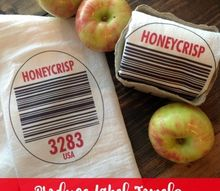 produce label flour sack towels, bathroom ideas