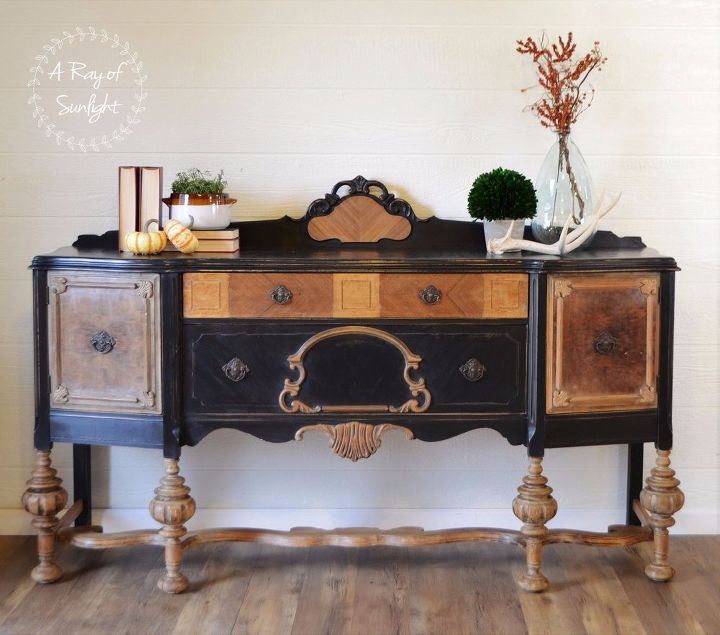 How to refinish an old worn out buffet hometalk for How to redo dining room chairs