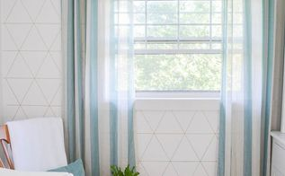 geometric statement wall for less than 10 , bedroom ideas, crafts, flooring, wall decor