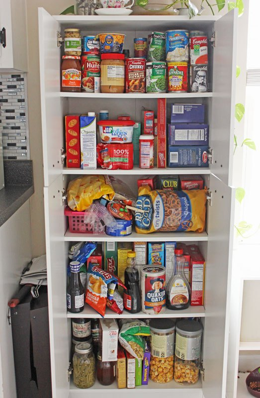 Create an open shelving pantry with ikea shelves hometalk for Kitchen cabinets shelves ideas