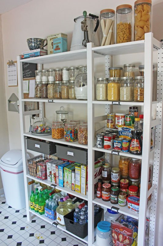 create an open shelving pantry with ikea shelves hometalk. Black Bedroom Furniture Sets. Home Design Ideas