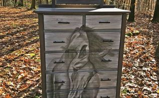 vintage wormy chestnut becomes equestrian work of art, bedroom ideas, crafts, home decor, painted furniture, repurposing upcycling, rustic furniture, woodworking projects