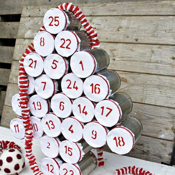 Diy tin can christmas advent calendar hometalk for Christmas crafts out of tin cans