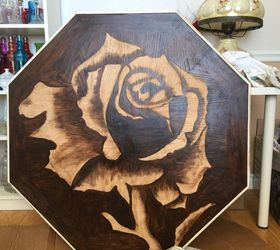 Rose Stained Table And Antique Chairs Makeover, Flowers, Gardening, Painted  Furniture, Repurposing