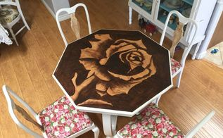 rose stained table and antique chairs makeover, flowers, gardening, painted furniture, repurposing upcycling