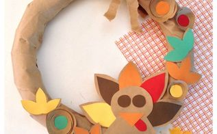 brown paper bag thanksgiving turkey wreath, crafts, wreaths