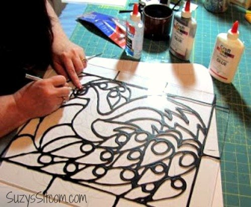 Creating faux stained glass with acrylic paint and glue for Can i paint glass with acrylic paint