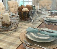 table for fall uses natural elements, painted furniture
