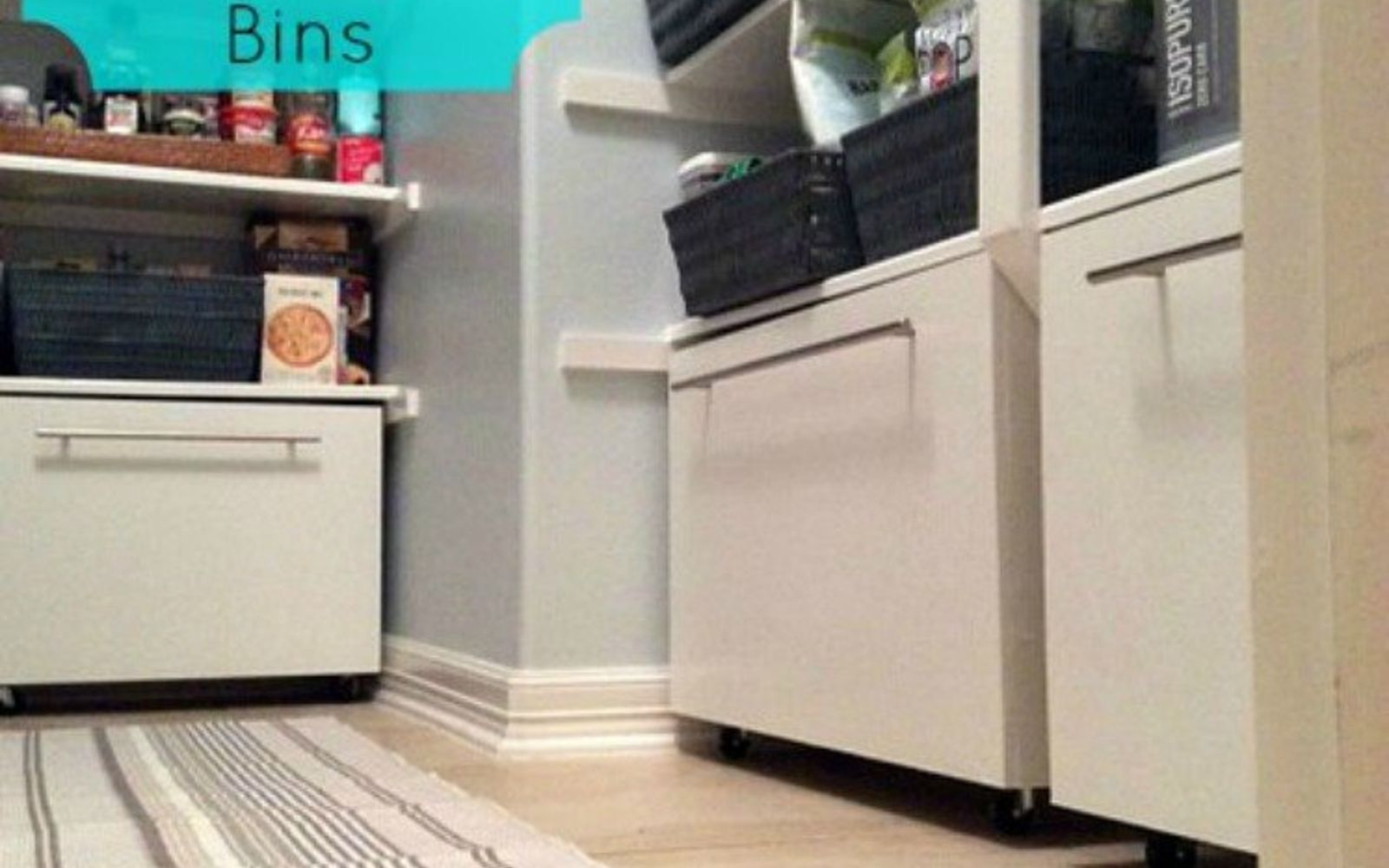 s add more pantry space with these brilliant hacks, closet, Add some storage bins for under your shelves