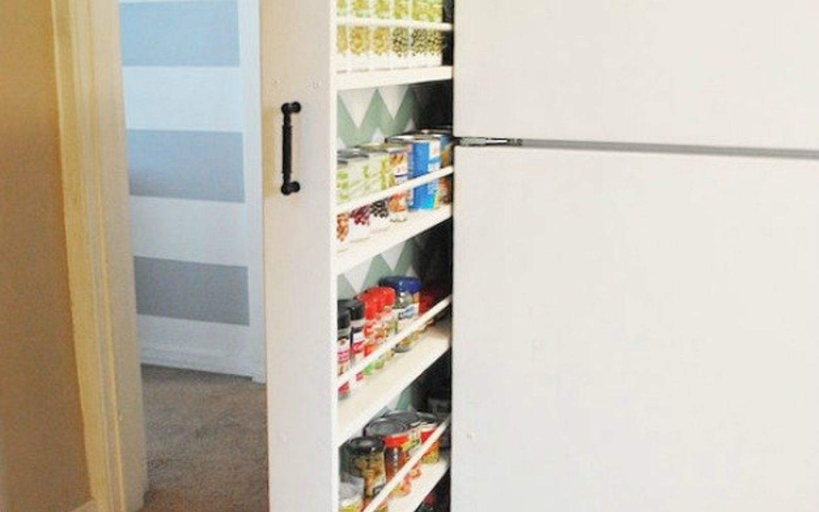 s add more pantry space with these brilliant hacks, closet, Hide your cans in a slide out shelf