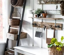 warming up a fall entry with woodsy touches and a compact shelf desk , painted furniture, shelving ideas