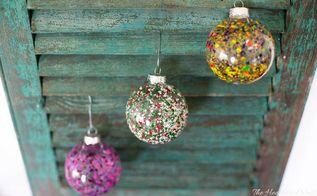melted crayon christmas ornaments, christmas decorations, seasonal holiday decor