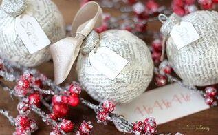 diy book page ornament, christmas decorations, seasonal holiday decor