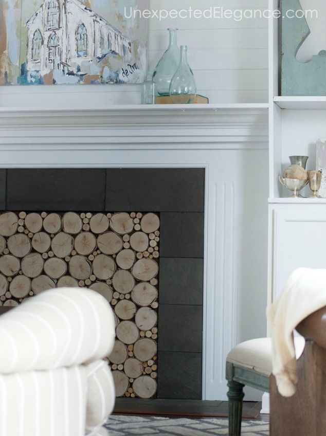 faux log fireplace insert hometalk