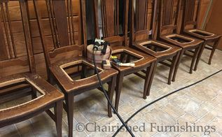 how to replace brittle cane seats with jute webbing, how to, All 6 chairs with cane removed