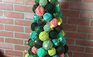 yarn ball ornament tree, christmas decorations, seasonal holiday decor