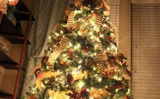 how to decorate a christmas tree with deco mesh bow topper tutorial, how to