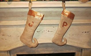 diy burlap elf stockings for your christmas mantle, crafts, fireplaces mantels