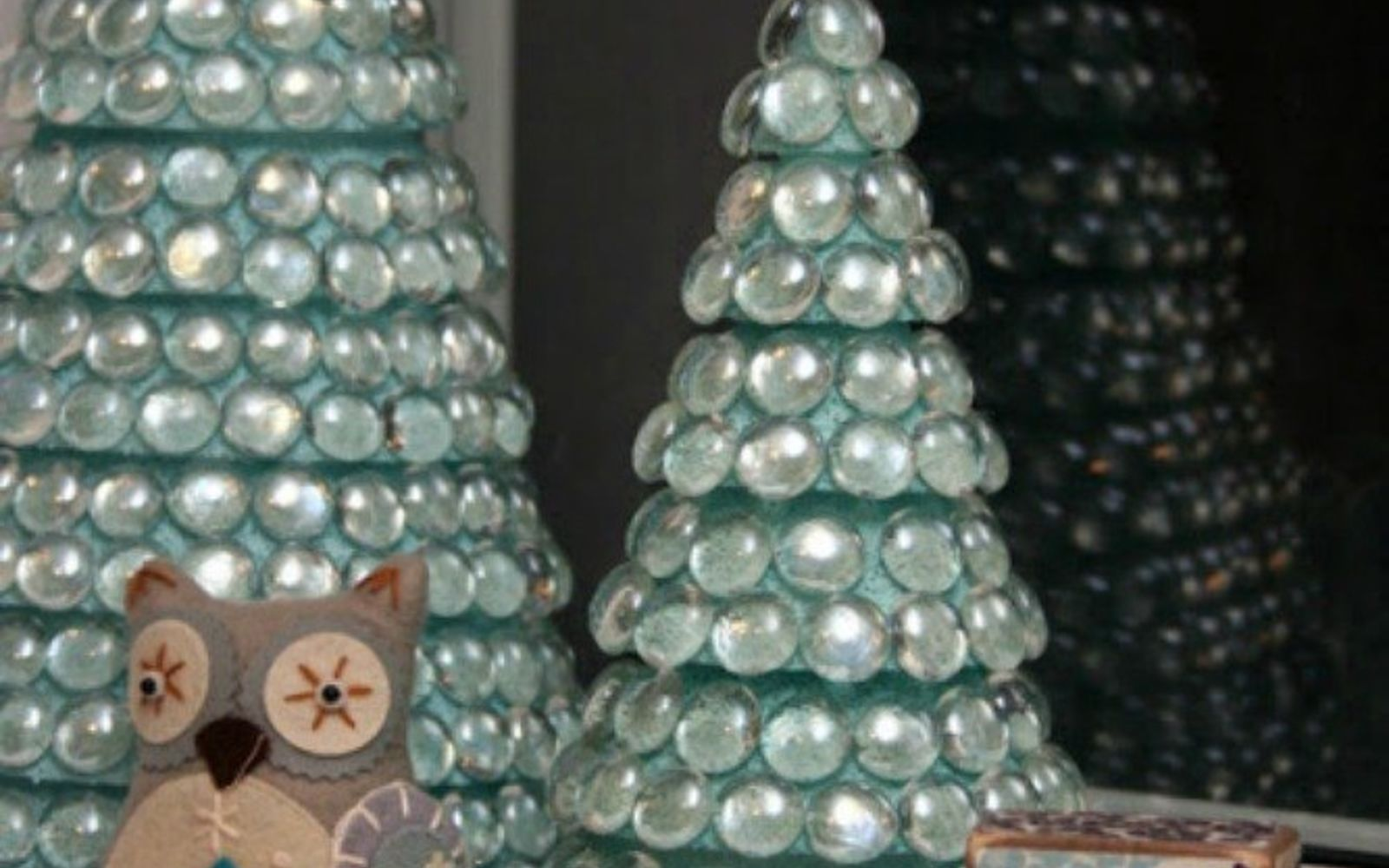 s cut up styrofoam for these breathtaking christmas ideas, christmas decorations, Glue them into glass gem Christmas trees