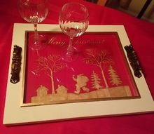 holiday tray made with a cutting edge stencil and gold leaf paint
