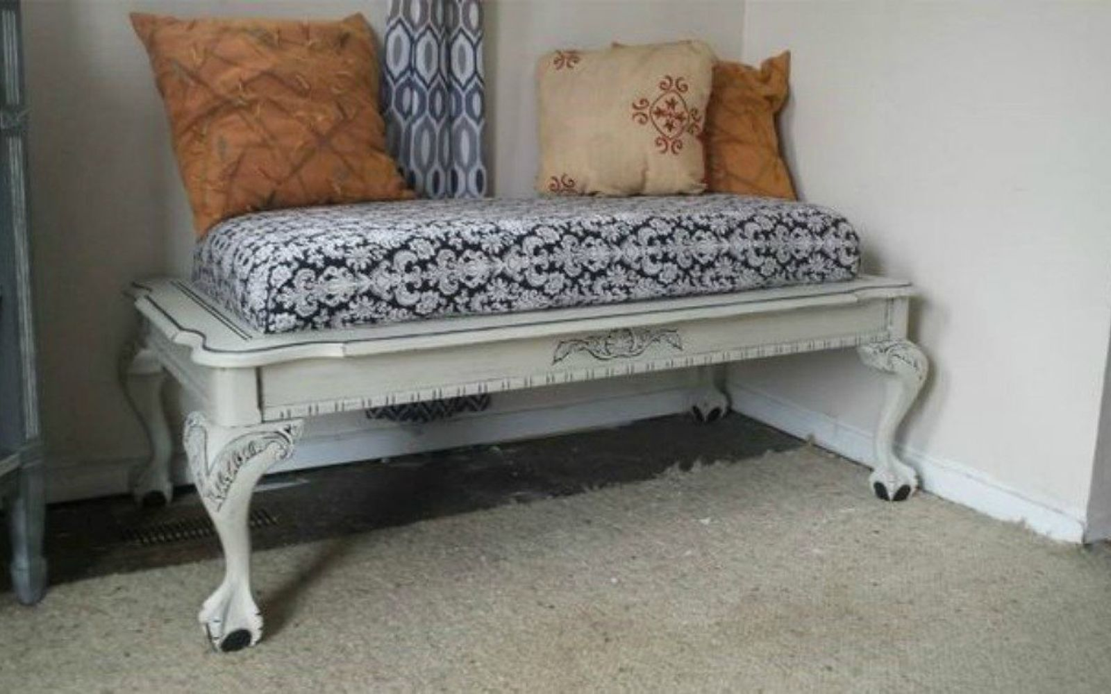 s 10 surprising ways to turn old furniture into extra seating, painted furniture, After A cushioned and comfy bench