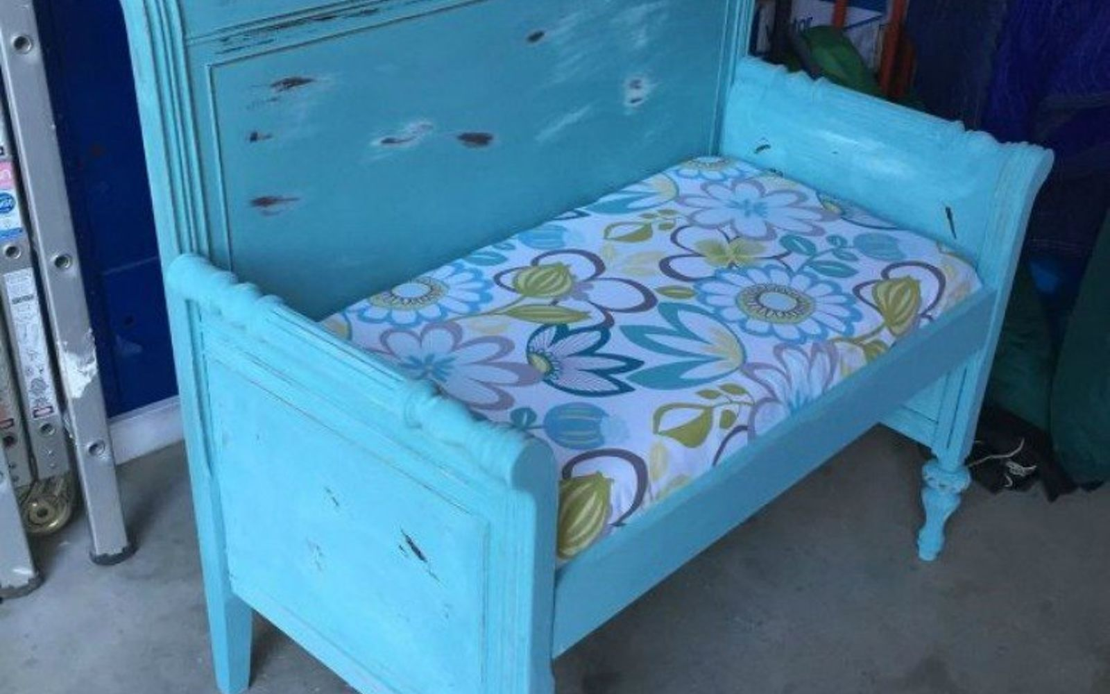s 10 surprising ways to turn old furniture into extra seating, painted furniture, After A cute blue side seat