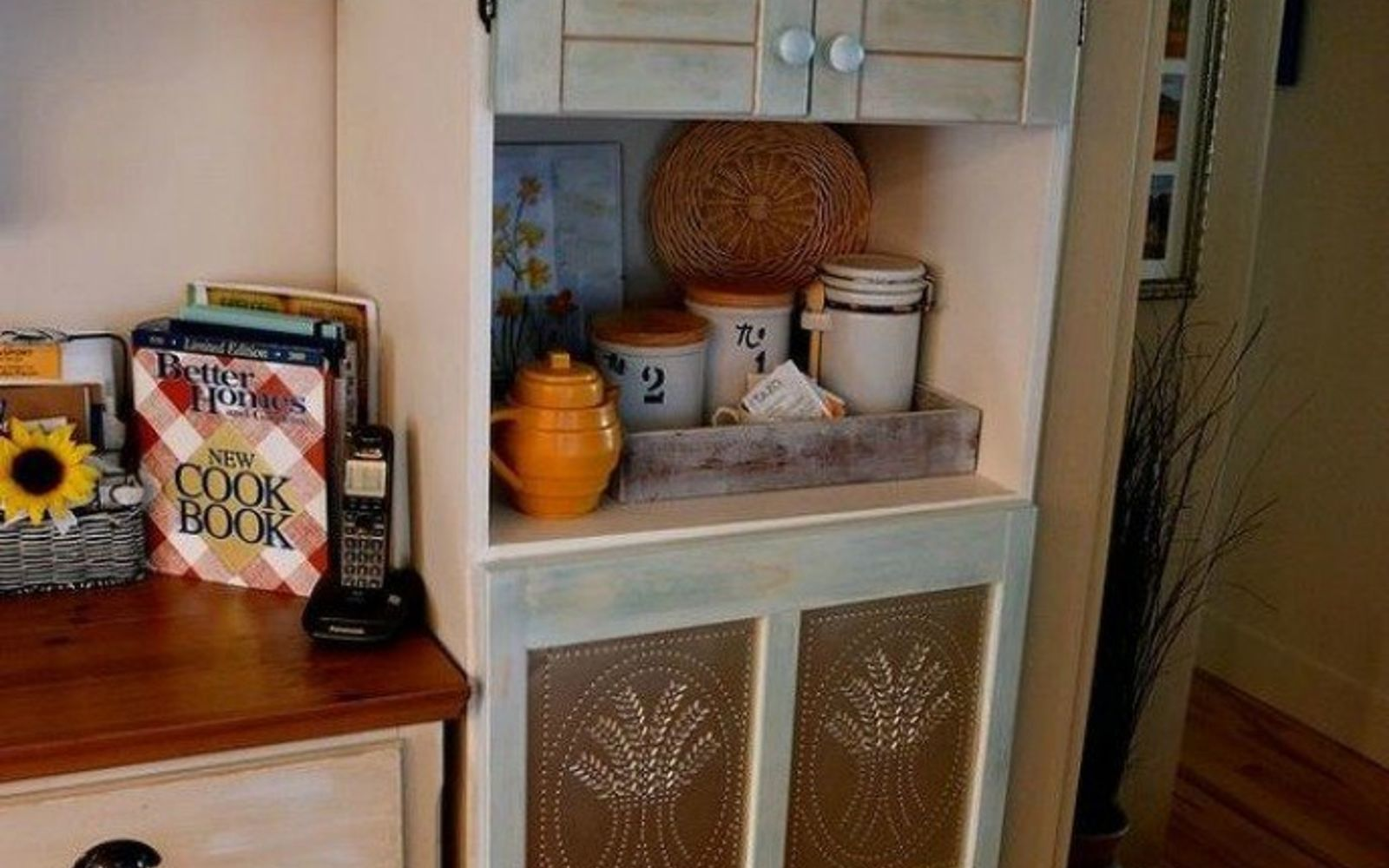 s transform your kitchen cabinets without paint 11 ideas , kitchen cabinets, kitchen design, Cover them with tin panels