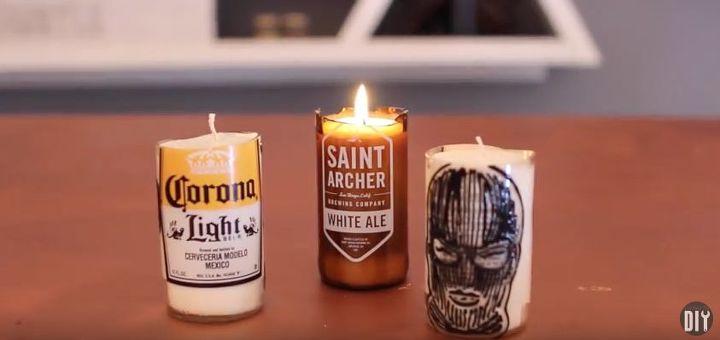 Diy Beer Bottle Glass Cutting Candles Hometalk