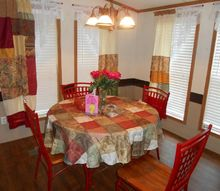 homemade quilt look dining curtains wrought iron set restored, fences, home decor, window treatments
