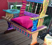 funky hand painted bench, outdoor furniture, repurposing upcycling